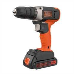 Black and Decker - 18V lithiumion borrskruvdragare med 2x15Ah batterier  400mA laddare - BCD001C2K