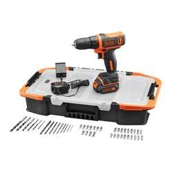 Black and Decker - 108V Lithiumion borrskruvdragare med 40 tillbehr  frvaringslda - BCD712AS2T