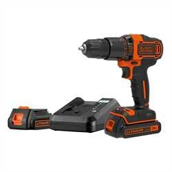 Black and Decker - 18V LiIon slagborrmaskin med tv batterier och laddare i kitbox - BDCHD18K1B2