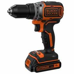 Black and Decker - 18V LiIon  kolborstfri borrskruvdragare med tv batterier och laddare 1A i kitbox - BL186K1B